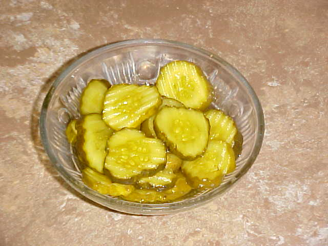 Homemade bread and butter pickles.