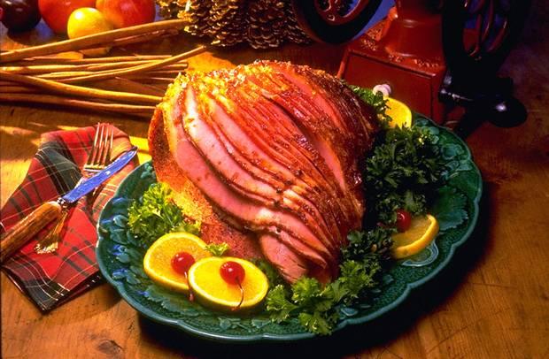 Baked Ham with sweet mustard glaze